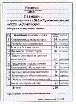 Свидетельство машинист экскаватора
